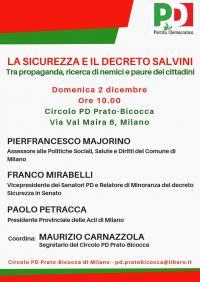 Incontro sul decreto sicurezza a Pratocentenaro - Milano
