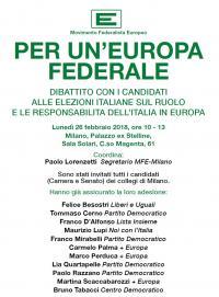 """Incontro """"Per un'Europa federale"""" a Milano"""